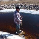 Bronco inspekterar poolens djup.